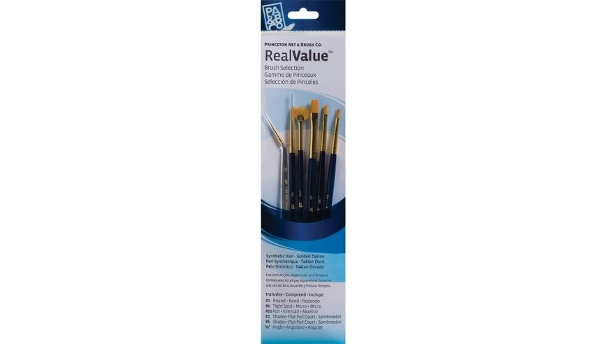 Princeton Real Value Brush Set of 6 - Synthetic Hair - Golden Taklon - Round 2, Tight Spot 0, Fan 2/0, Shader 2 & 6, Angular 1/8 - Short handle