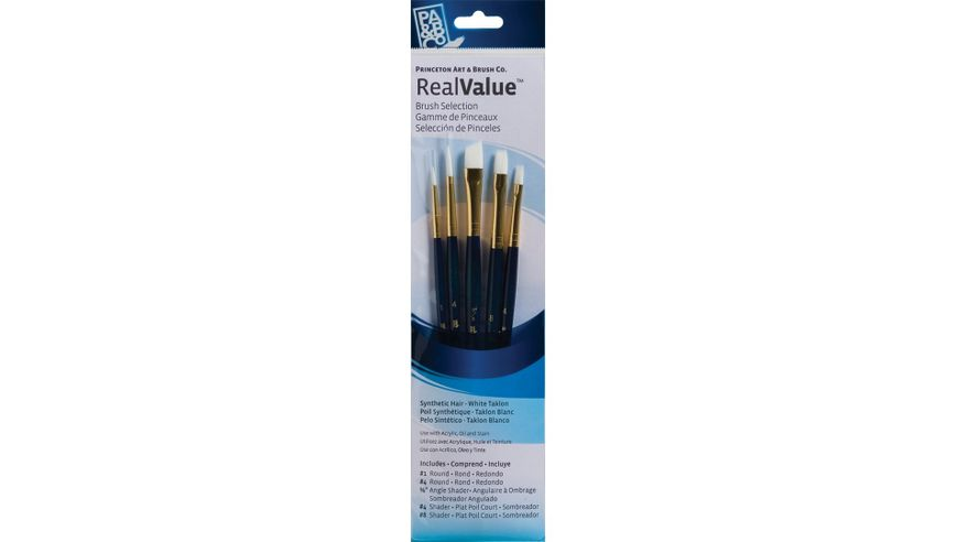 Princeton Real Value Brush Set of 5 - Synthetic Hair - White Taklon - Round 1 & 4,  Angle Shader 3/8, Shader 4 & 8 - Short handle