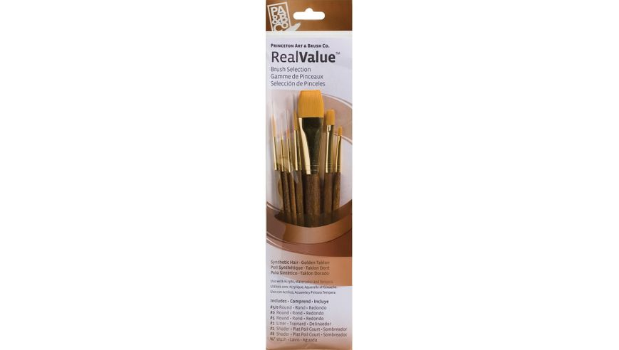 Princeton Real Value Brush Set of 7 - Synthetic Hair - Golden Taklon - Round 5/0, 0 & 5, Liner 2, Shader 2 & 8, Wash 3/4 - Short handle