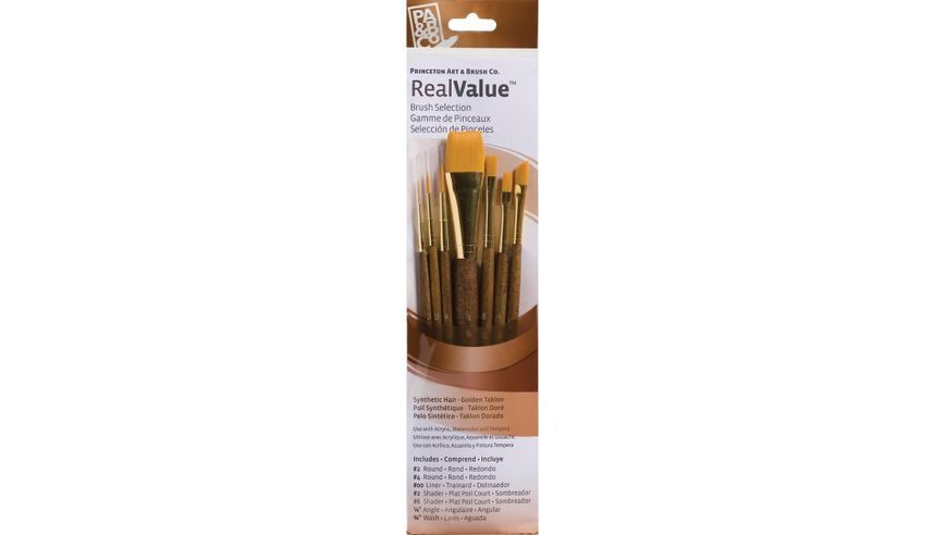 Princeton Real Value Brush Set of 7 - Synthetic Hair - Golden Taklon - Round 2 & 4, Liner 2/0, Shader 2 & 6, Angular 1/4, Wash 3/4 - Short handle