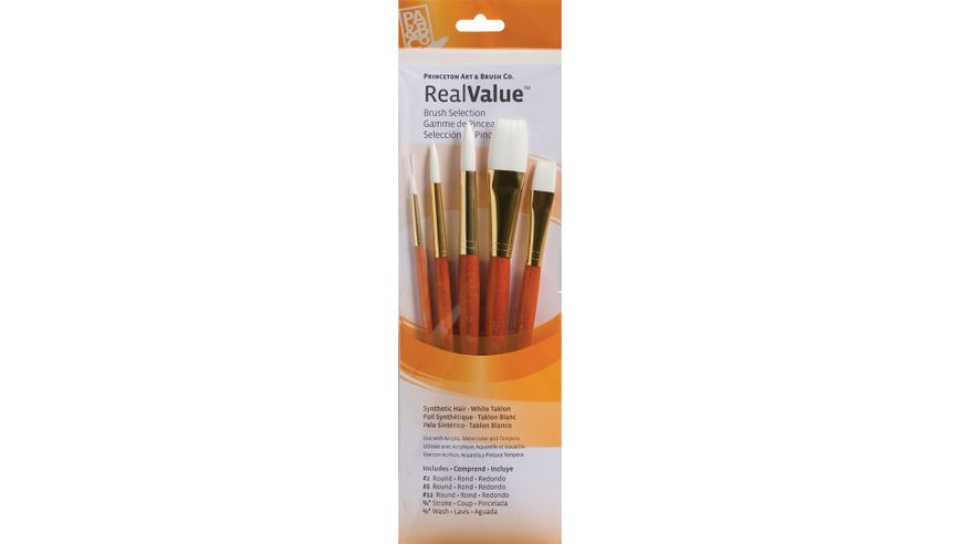 Princeton Real Value Brush Set of 5 - Synthetic Hair - White Taklon - Round 2, 8 & 12, Stroke 3/4, Wash 1/2 - Short handle