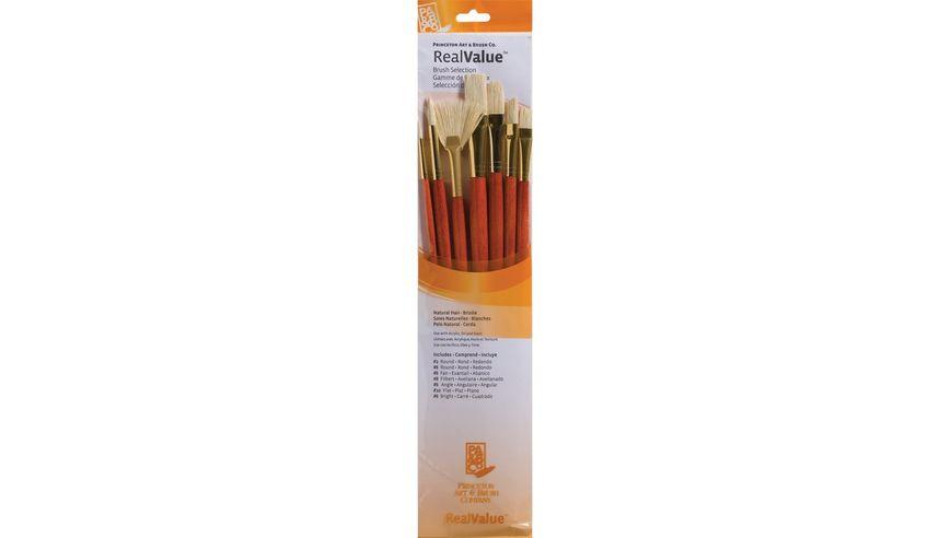 Princeton Real Value Brush Set of 7 - Natural Hair - Bristle - Round 2 & 6, Bright 6, Filbert 8, Fan 6, Flat 10, Angular 6 - Long Handle