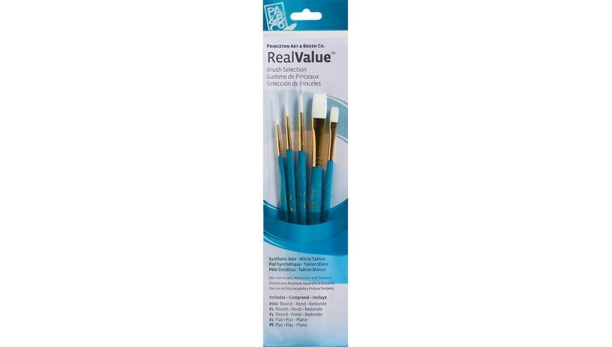 Princeton Real Value Brush Set of 5 - Synthetic Hair - White Taklon - Round 3/0, 2 & 4, Flat 2 & 6 - Short handle