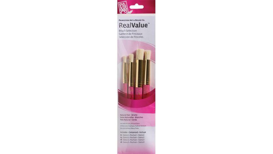 Princeton Real Value Brush Set of 4 - Natural Hair - Bristle - Stencil 2, 4, 6 & 8 - Short handle