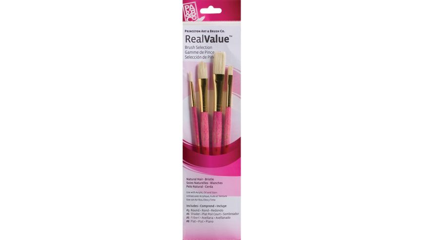 Princeton Real Value Brush Set of 4 - Natural Hair - Bristle - Round 3, Shader 6, Filbert 6, Flat 8 - Short handle