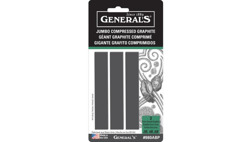 General's Jumbo Compressed Graphite Sticks, Rectangular, Assorted (6B Soft, 4B Medium and 2B Hard) - 3 piece set