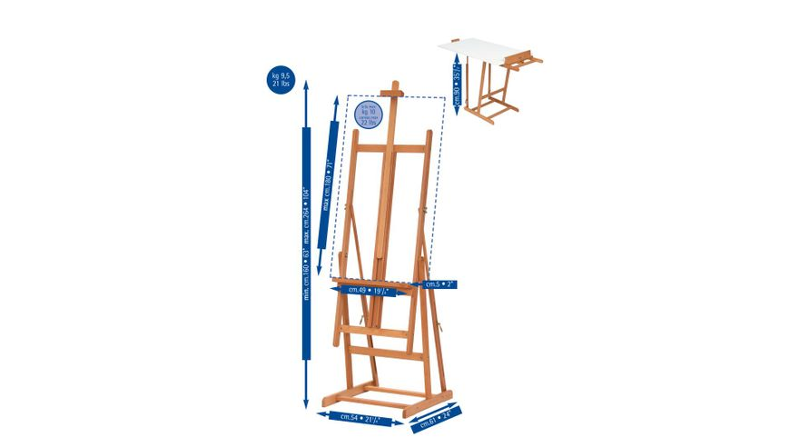 MABEF Beech Wood Convertible Basic Studio Easel - H Frame