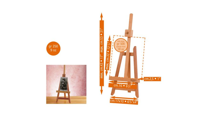 """MABEF Beech Wood """"Lyre"""" Miniature Table Easel"""