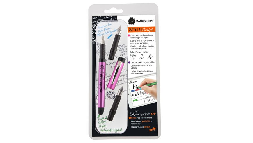 Manuscript Styluscript Fountain Pen - 3 Nib Set - Pink Barrel