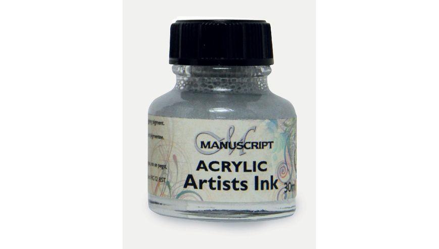 Manuscript Artists Acrylic Dip Pen Ink 30ML - Metallic Silver