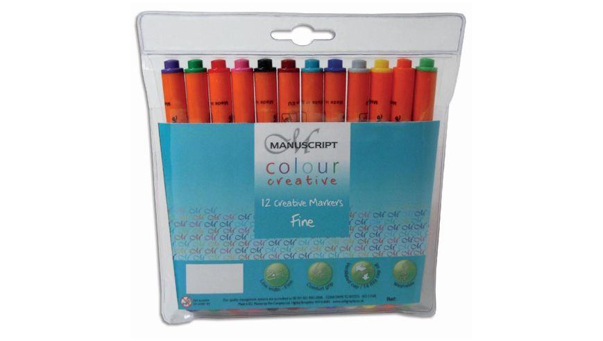 Manuscript Wallet Of 12 Colour Creative Markers - Fine