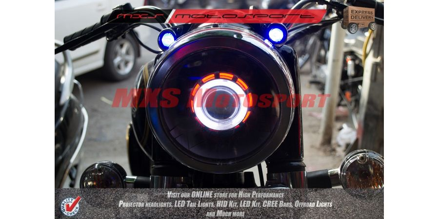 MXSHL126 Royal Enfield Bullet Classic 350-500 Headlight RoboticEye XFR Cree Projector