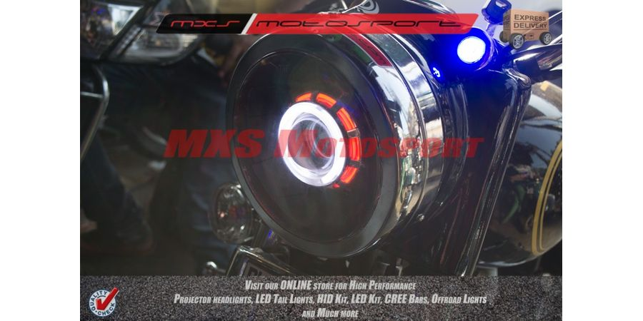 MXSHL128 Royal Enfield Bullet Electra 350 Headlight Robotic Eye XFR Cree projector