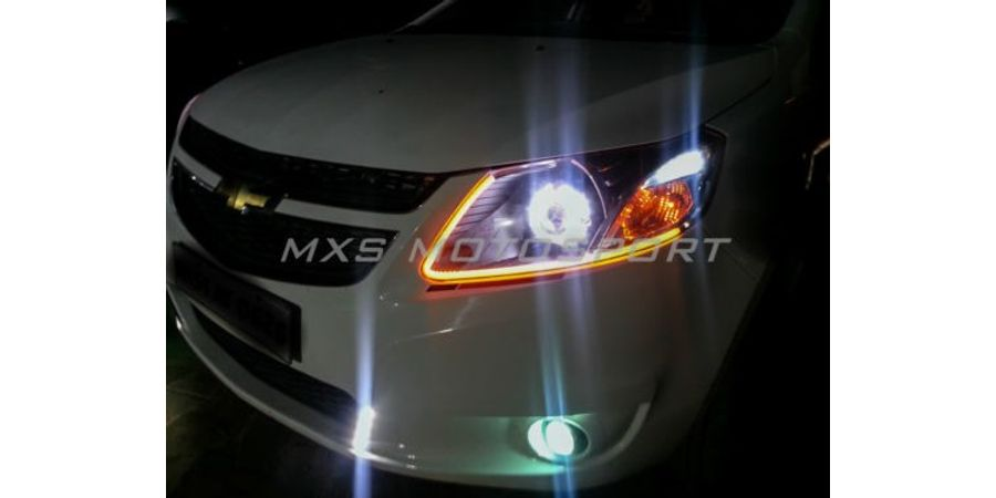 MXS1902 Audi-Style White-Amber DRL Daytime Running Light for Chevrolet Aveo