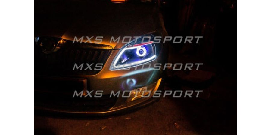 MXSHL59 Motosport Skoda Rapid Headlights Bi Xenon projector & Day running light