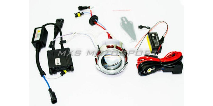 Mahindra Scooter Duro DZ HID BI-XENON Projector Blaster Robotic Angel Eye Kit