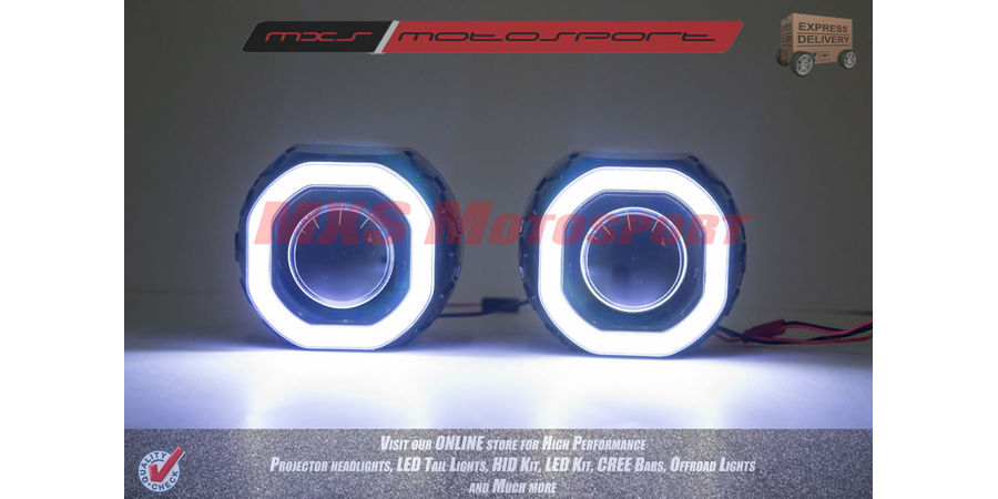 MXS2428 Headlight Car HID BI-XENON CREE LED Halo Ring Square Projector With Black Shroud