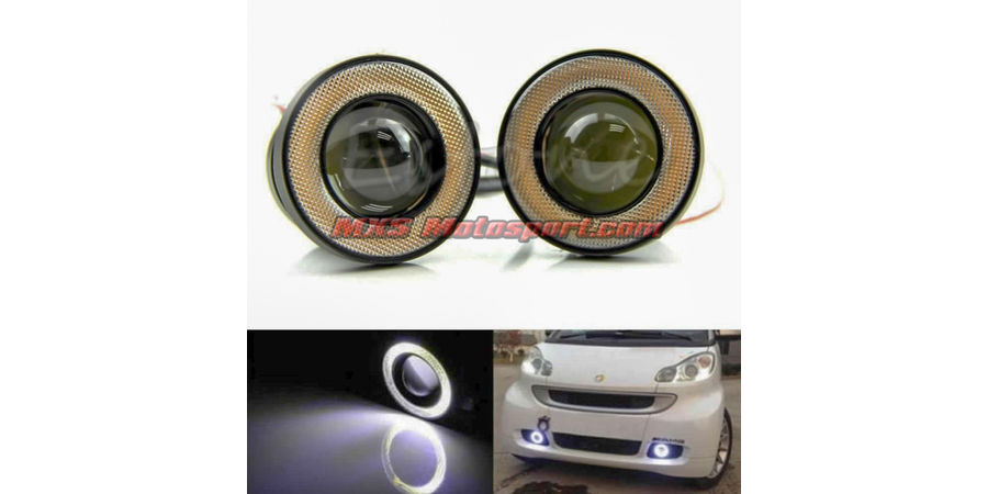 MXS2480 Super Bright Fog Light COB LED Projector White Angel Eye Halo Ring Car and SUV