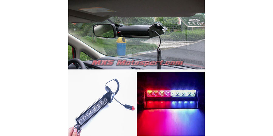 MXS2487 Police Style 8 LED Red Blue and White Strobe Flasher Light For Car and SUV