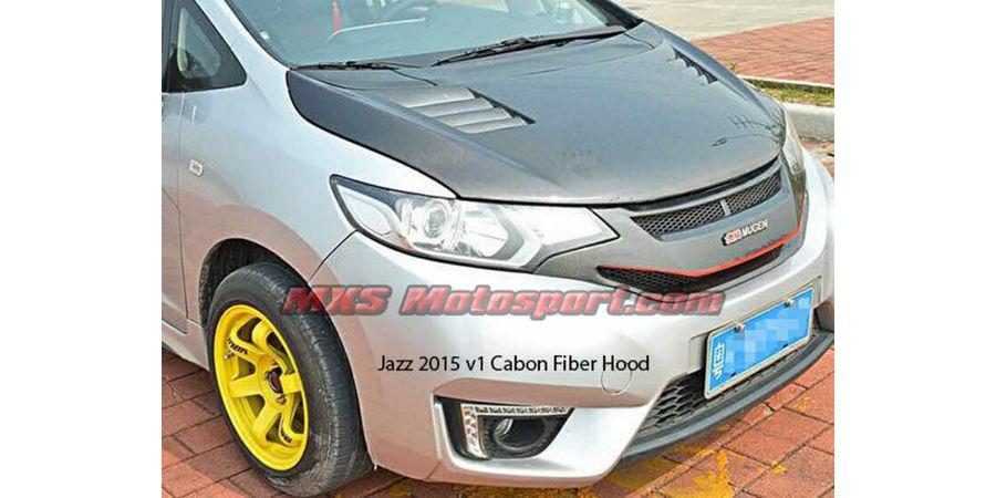 MXS2536 Honda Jazz 2015 V1 Carbon Fiber Bonnet Hood