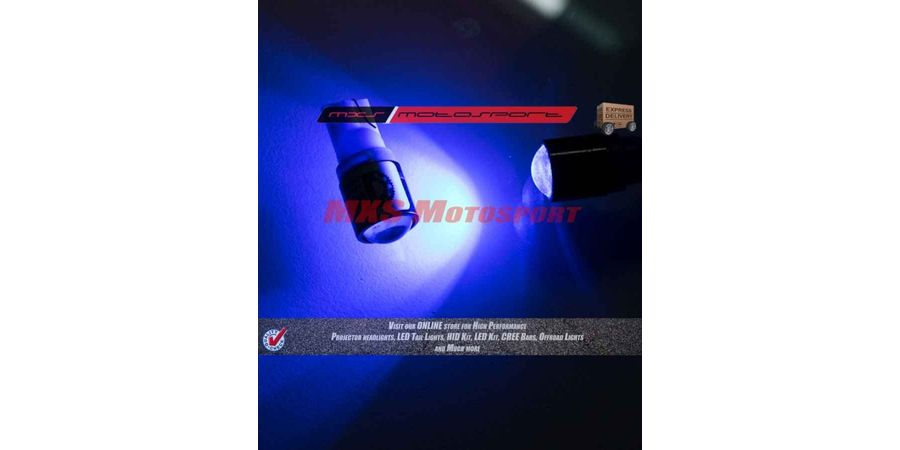 Tech Hardy T10 CREE LED Projector Parking Bulbs Long Range UV Blue Color For Skoda Rapid Set of 2
