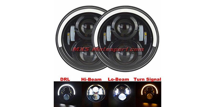 MXSHL399 Tech Hardy White Angel Eye Projector Headlights for Mahindra Thar Jeep