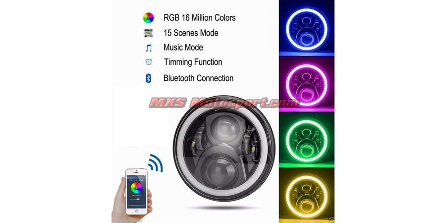 MXSHL499 Royal Enfield Bullet Headlight Halo Ring Angel Eye with Bluetooth APP Control