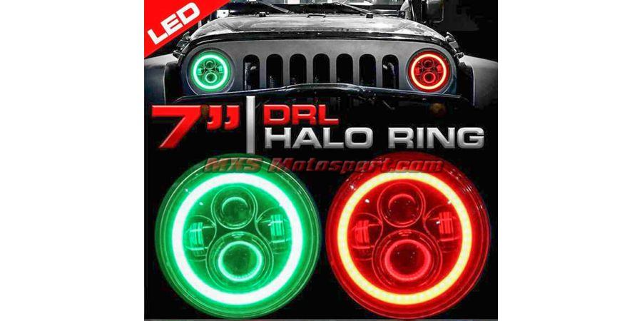 MXSHL502 Projector Headlights Halo Ring DRL Bluetooth App Control For Thar Jeep Wrangler