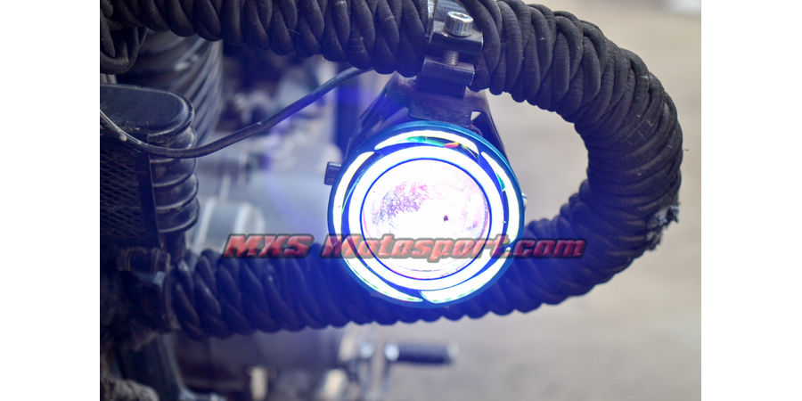 MXSORL143 Projector Fog Lights Angel Eye Halo Ring + Blue Demon Eye Strobe Motorcycle