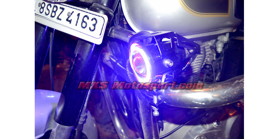 MXSORL153 Projector Fog Lights Angel Eye Halo Ring + Blue Demon Eye Strobe Royal Enfield Bullet