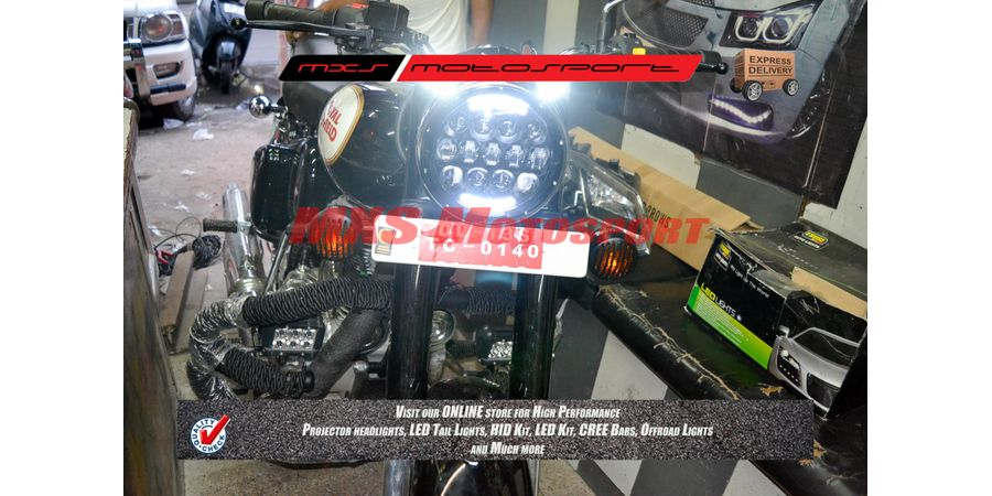 MXSHL101 Black Projector LED Light DRL Royal Enfield Bullet