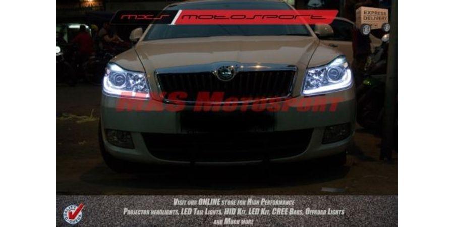 MXS1896 Audi-Style White-Amber DRL Daytime Running Light for Skoda Laura