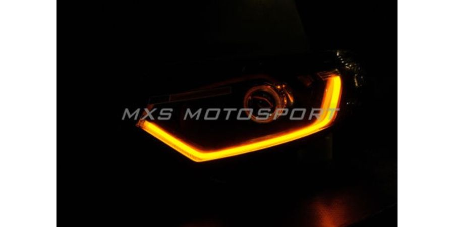 MXS1882 NEW Audi-Style Universal Tube White-Amber Switchback Headlight DRL Daytime Light