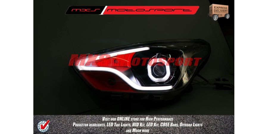 MXSHL60 Motosport Square Eye Projector Headlight With DRL Ford Figo Aspire