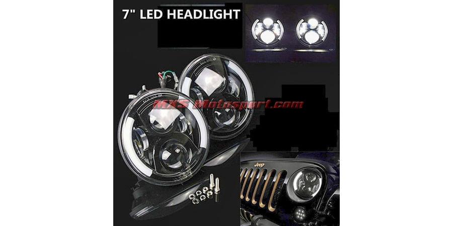 MXSHL93 Tech Hardy White Angel Eye Projector Headlights for Mahindra Thar Jeep Wrangler