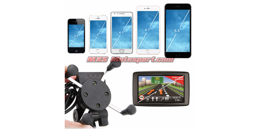MXS2384 Bike Handlebar Rail Mount USB Charger Universal X-Grip Cell Phone Holder