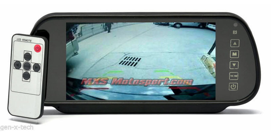 "MXS2363 7"" Inch Rearview Mirror Monitor Reverse  Parking Camera Connect via 2x AV In"