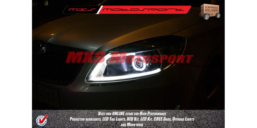 MXSHL21 Square Projector Headlight For Skoda Rapid with Audi Style DRL's