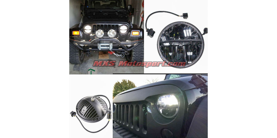 MXSHL94 Tech Hardy Round CREE LED Projector Headlights for Mahindra Thar Jeep