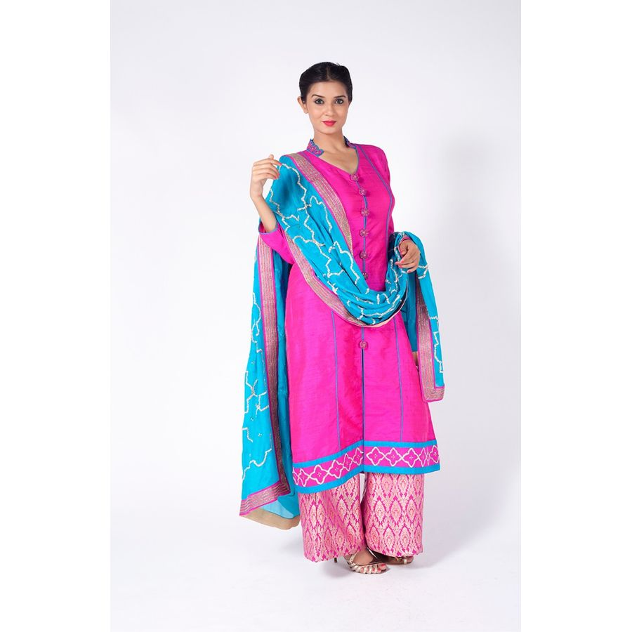Deep Pink Embroidered Shirt With Brocade Sharara Pant