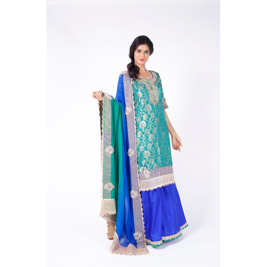 Teal Green Embroidered Shirt With Royal Blue Sharara Along With ...
