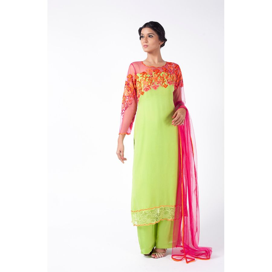 725f6f74138732 Apple Green And Pink Embroidered Shirt With Sharara Pant Along With ...
