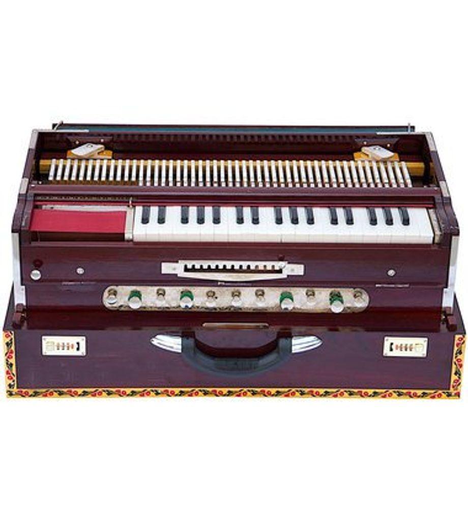 SG Musical Harmonium. Teak Wood, Folding, 4 Reeds, A440, 42 Keys, Walnut Color, Concert Quality