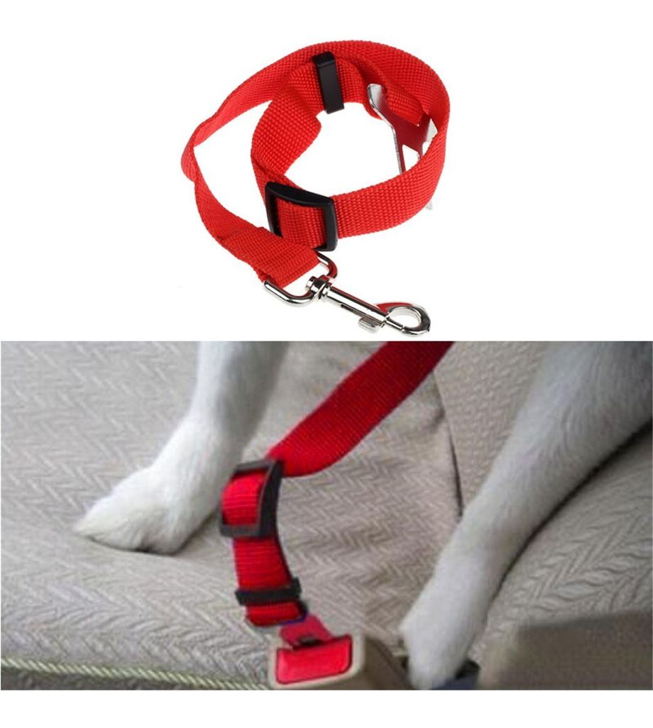 Seatbelt for Small Pet Cat Dog Safety in Cars (Red)