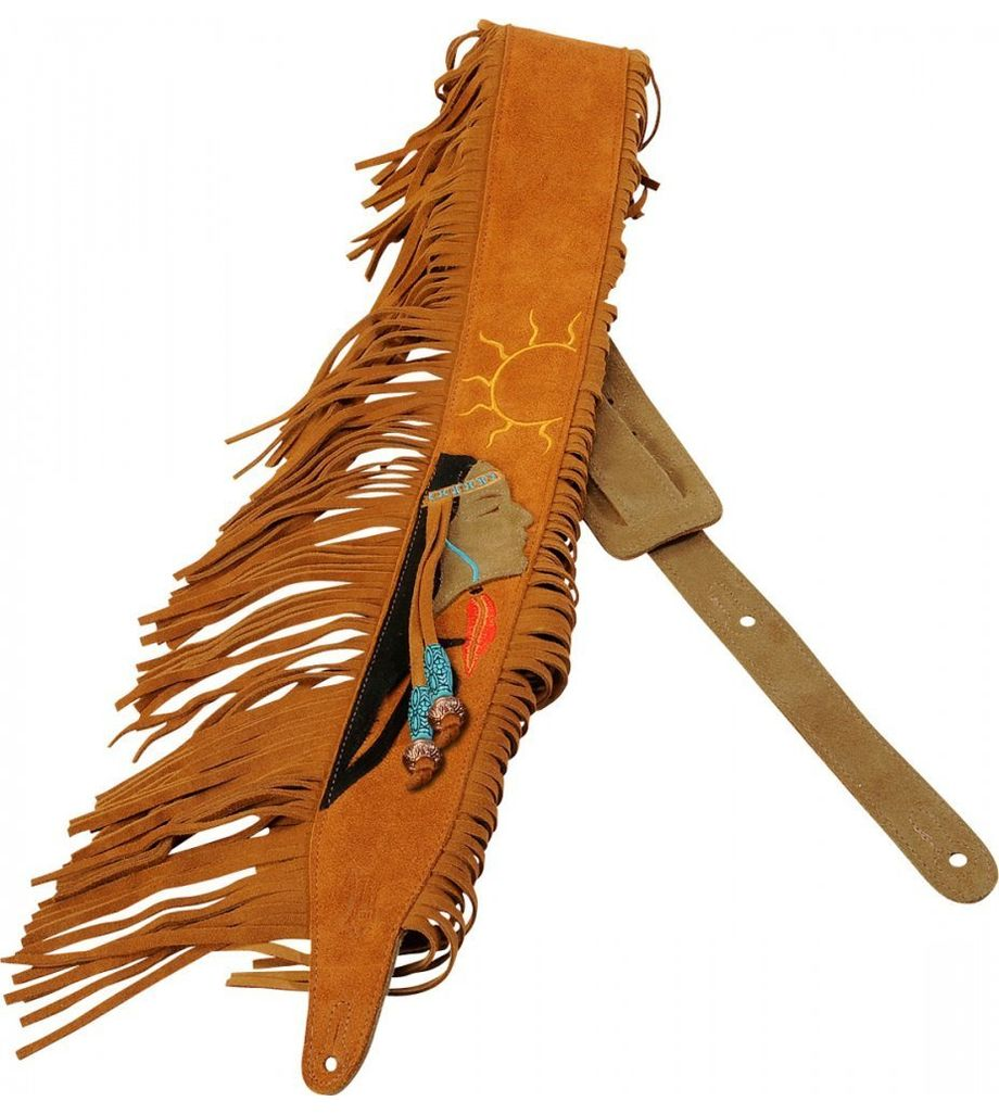 SG Musical Guitar Strap,  Suede Leather w/ American Indian Design