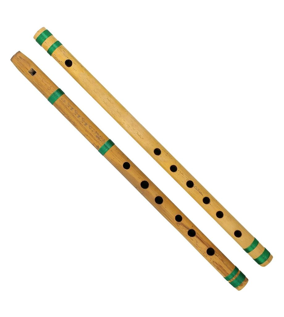 SG Musical Indian Bamboo Flute Bansuri, Set of 2, Fipple & Transverse, For Kids