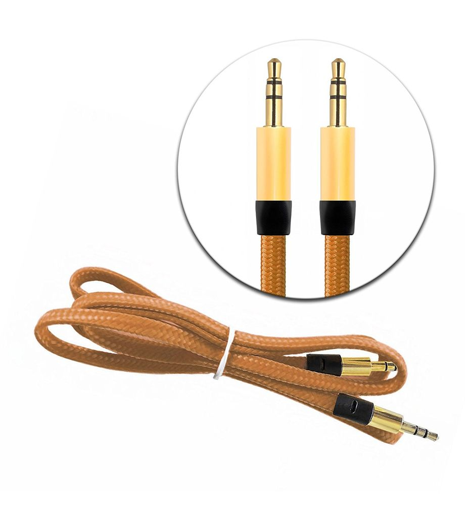 3.5mm AUX Auxiliary Cord Male to Male Stereo Audio Car Home Speaker Cable 3' Feet (Gold Brown)