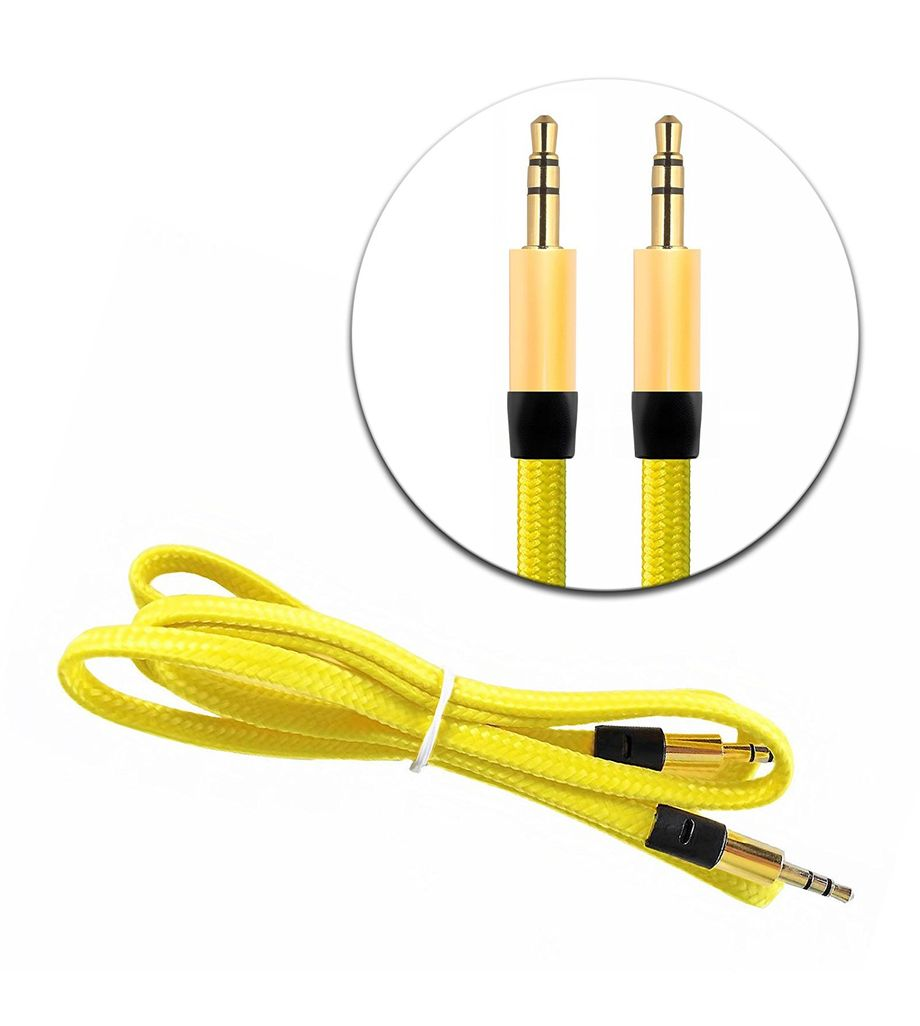 3.5mm AUX Auxiliary Cord Male to Male Stereo Audio Car Home Speaker Cable 3' Feet (Yellow)