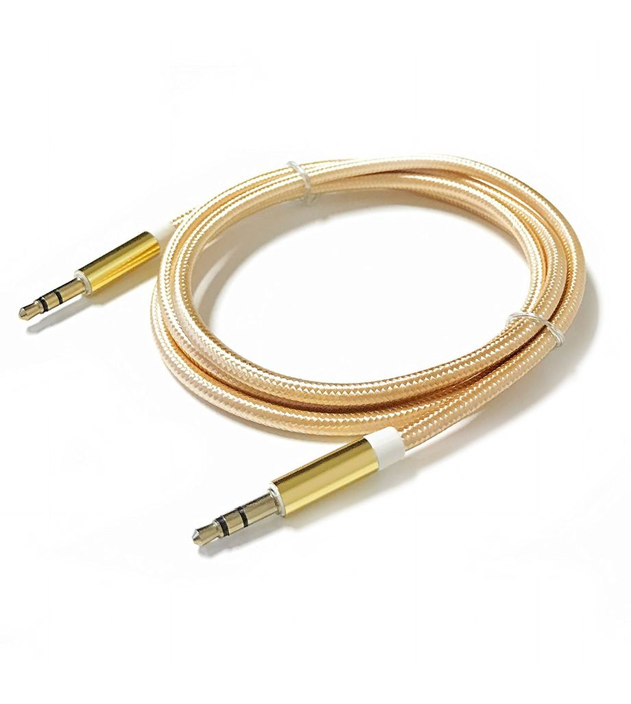 3.5mm AUX Auxiliary Cord Male to Male Stereo Audio Car Home Speaker Cable 3' Feet (Gold)