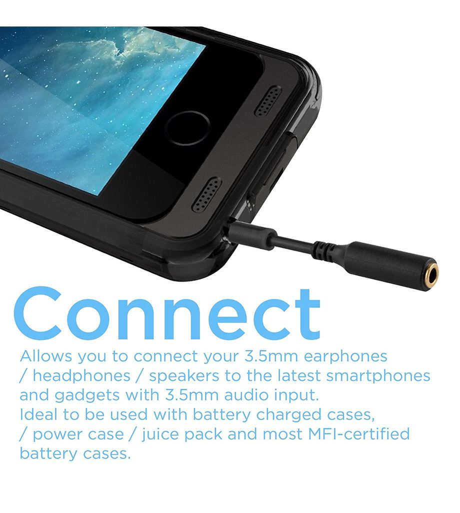 3x 3.5mm Male to 3.5mm Female Extension Cable Headset Audio Jack Extender Adapter for Battery Charger Case, iPhone 6S, 6S Plus